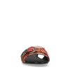 Oranje slippers met print en gesp