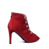 Rode pumps met peeptoe