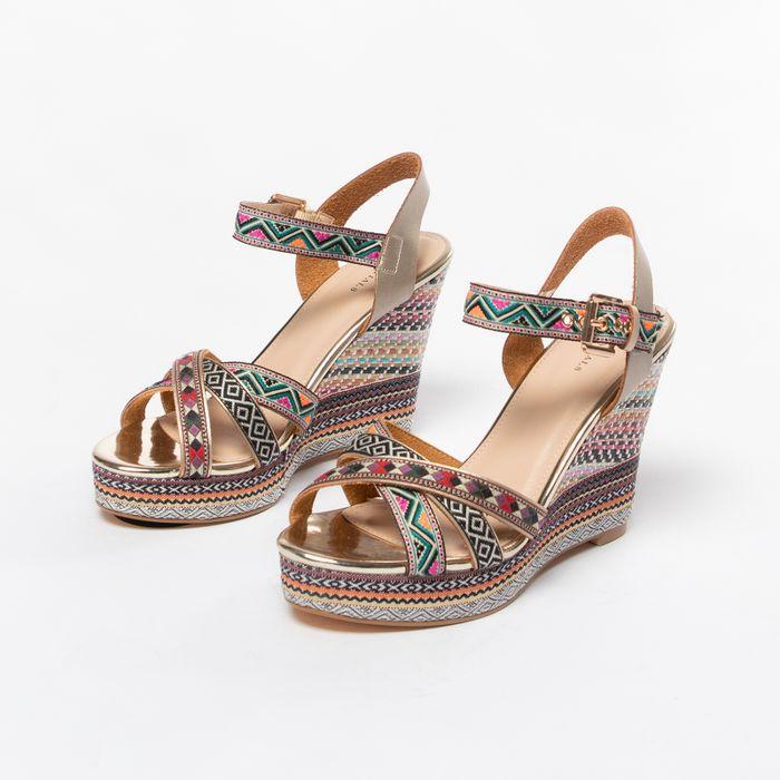 Roze sleehak sandalen met print