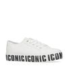 Witte plateau sneakers met tekst