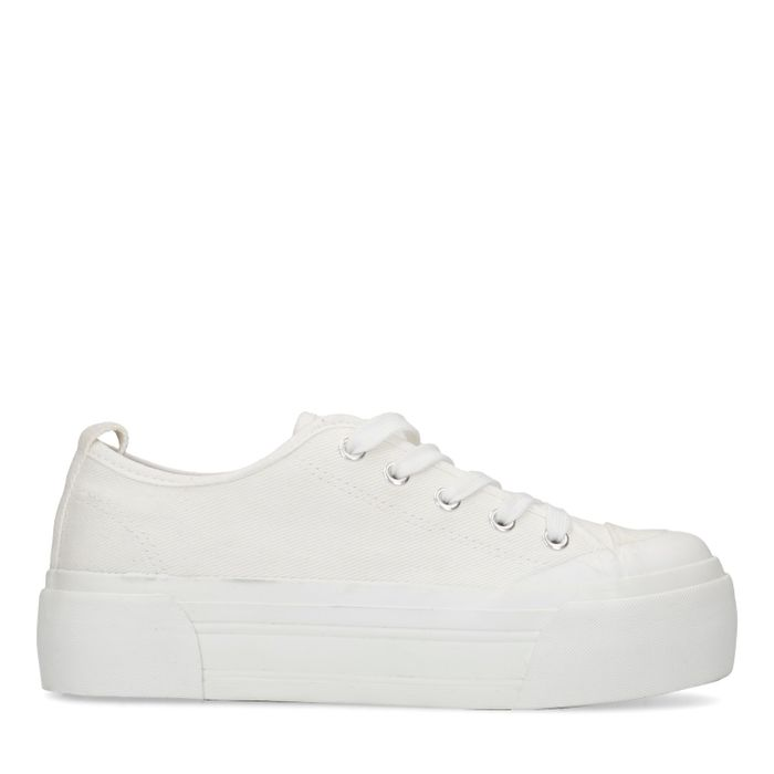 Witte canvas platform sneakers