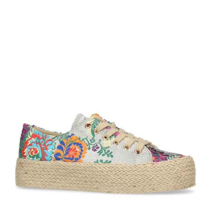 Touwzool platform sneakers met bloemenprint