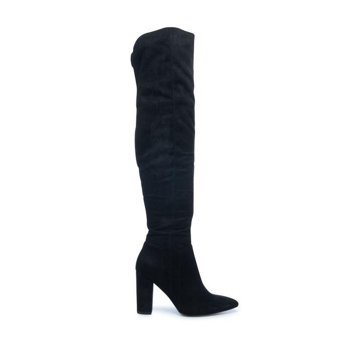 Zwarte overknee laarzen met spitse neus en hak