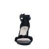 Zwarte sandalen met hak met bloempailleten