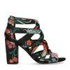 Zwarte sandalen met hak met bloemenprint