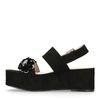 Zwarte plateau sandalen met pailletten