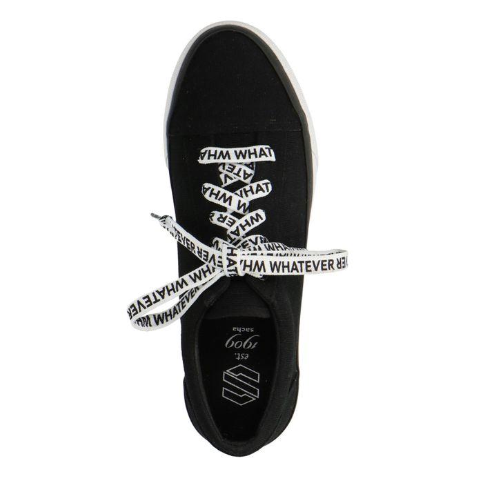Zwarte platform sneakers met veters met tekst