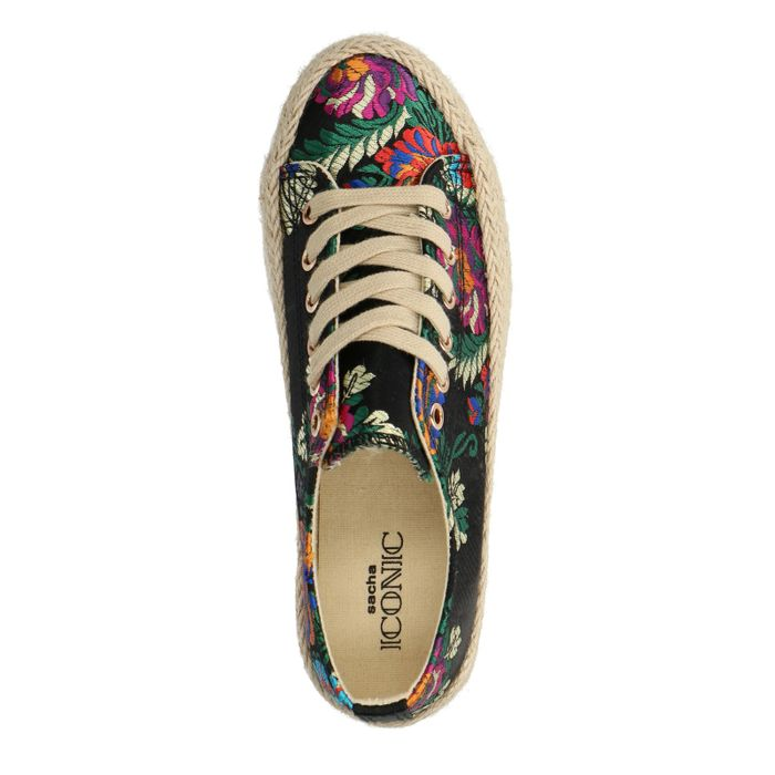 Zwarte platform sneakers met bloemenprint