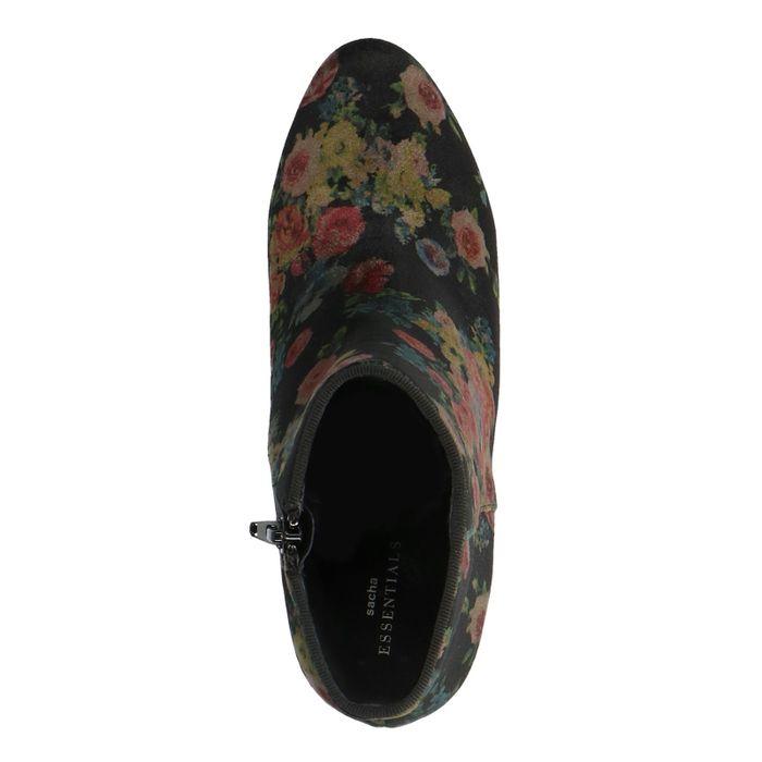 Zwarte velvet enkellaarsjes met hak met bloemenprint