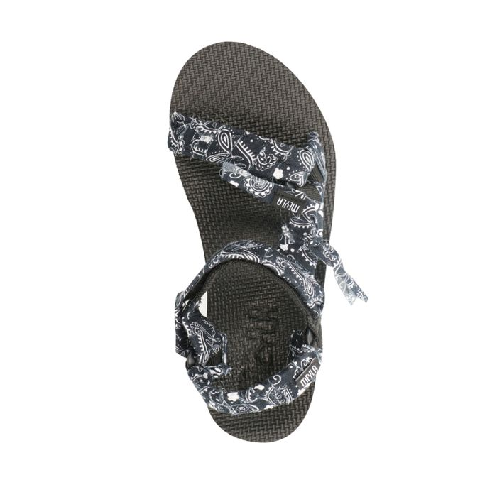 Zwarte sandalen met bandana bandjes
