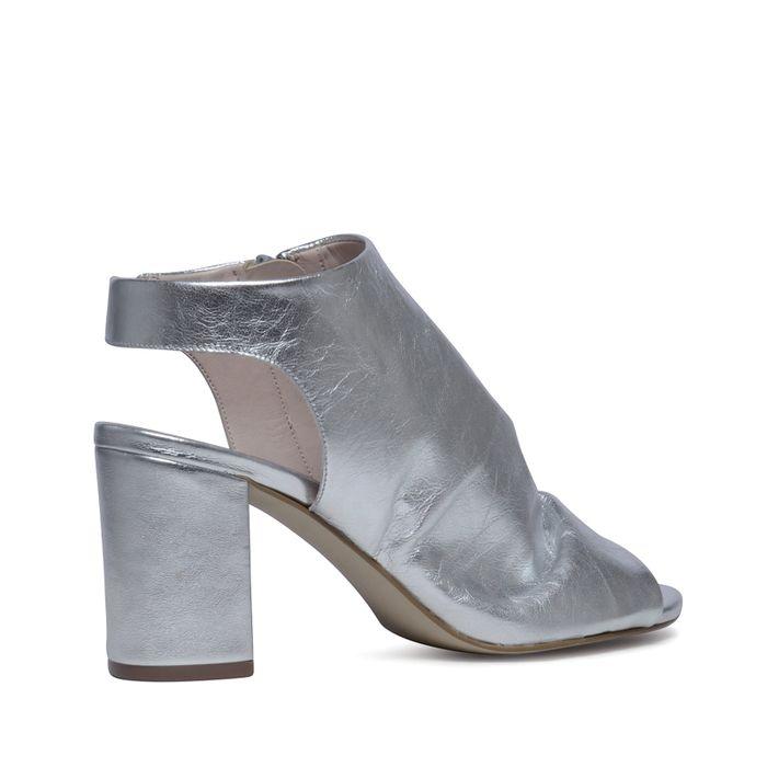 Sandales cuir à talon avec bout ouvert - argenté