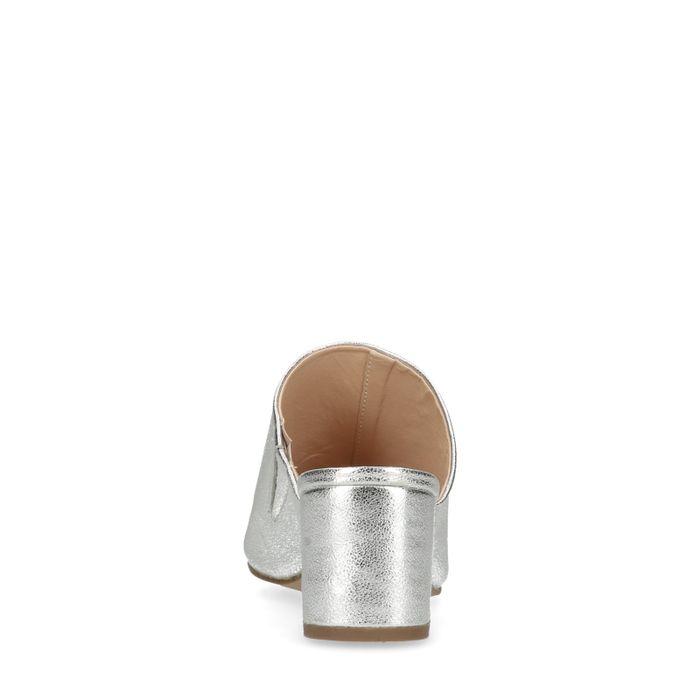Mules en cuir métallisées - argenté