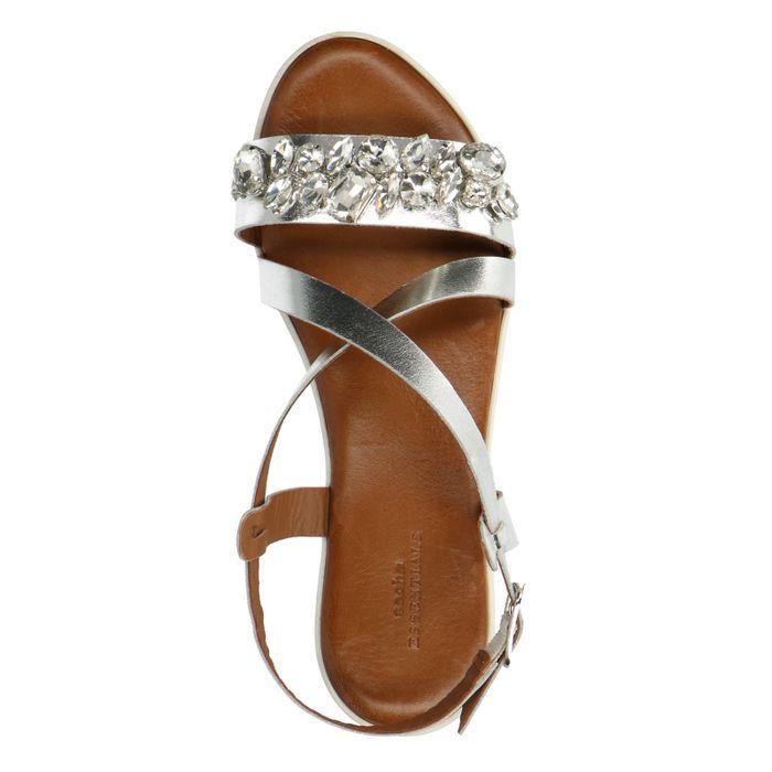 Sandales cuir à plateforme avec pierres - argenté