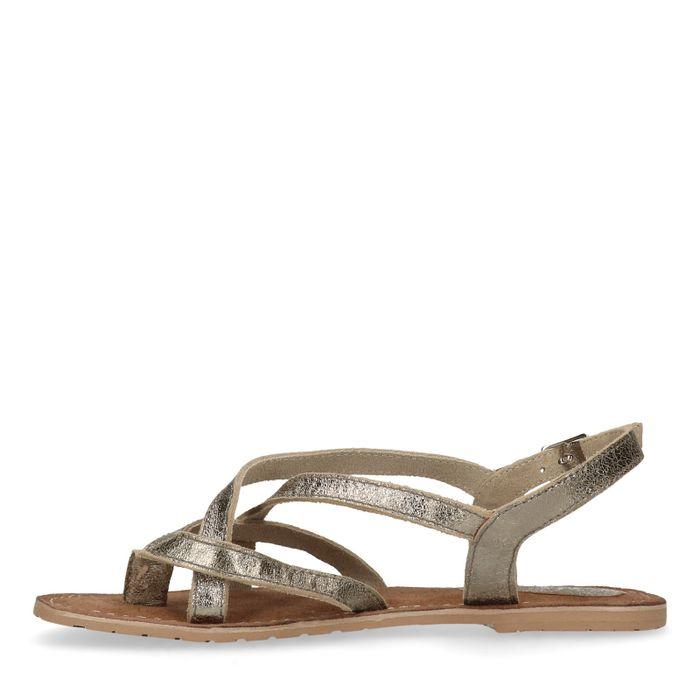 Sandales en cuir avec brides croisées - argenté
