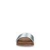 Claquettes en cuir avec bande large - argenté