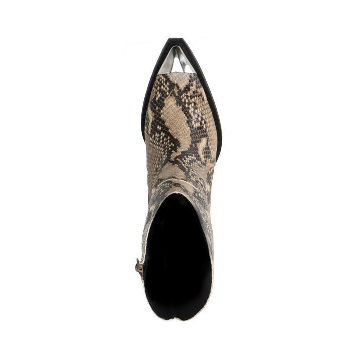 Santiags en cuir avec imprimé serpent et détails métalliques