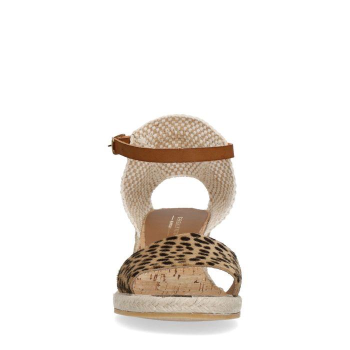 Sandales à talon compensé avec imprimé léopard