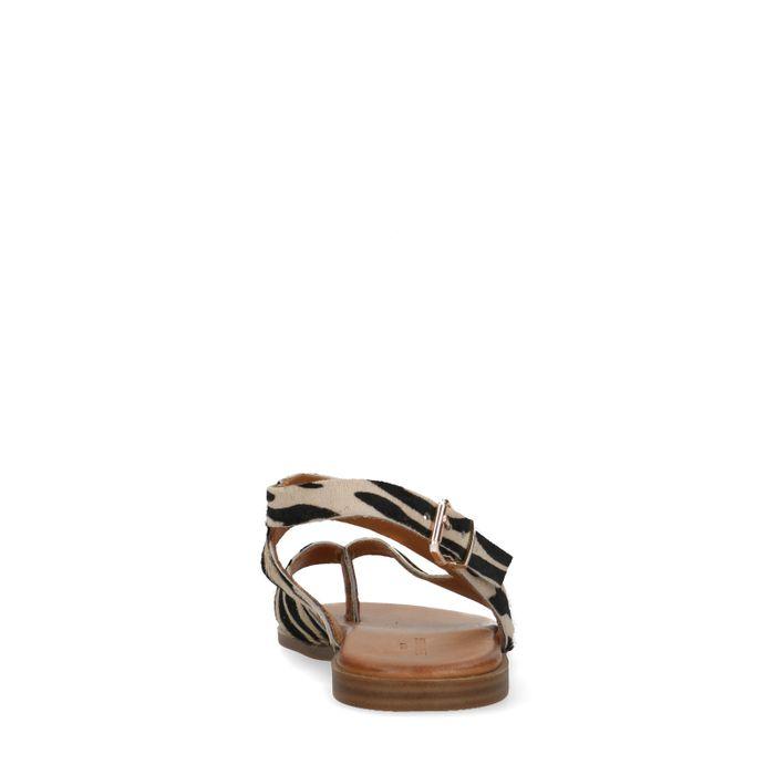 Sandales en cuir avec imprimé zèbre