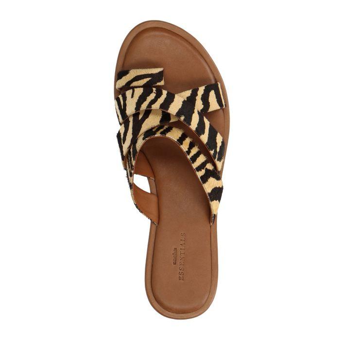Claquettes avec imprimé léopard - marron