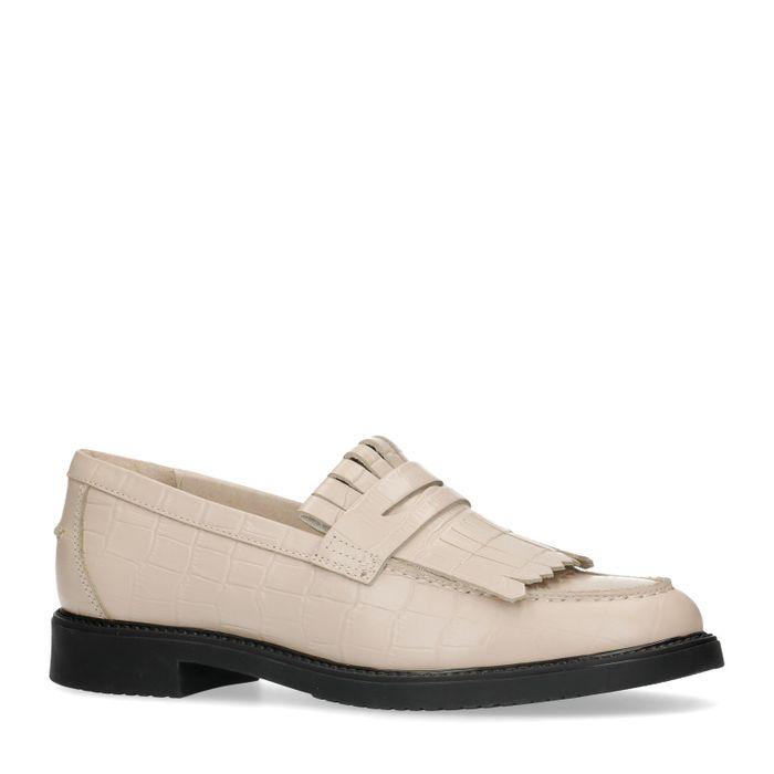 Loafers en cuir avec imprimé croco et franges - beige