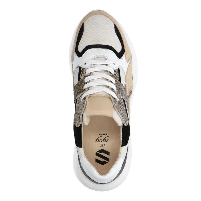 Dad shoes en cuir avec imprimé serpent - beige