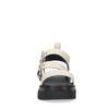 Sandales cuir à plateforme avec imprimé croco - beige