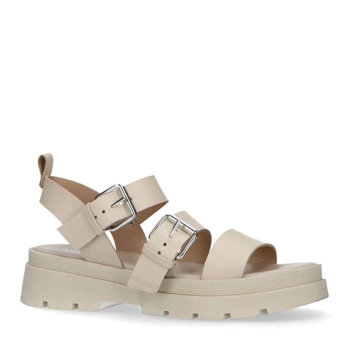 Sandales cuir à plateforme - beige