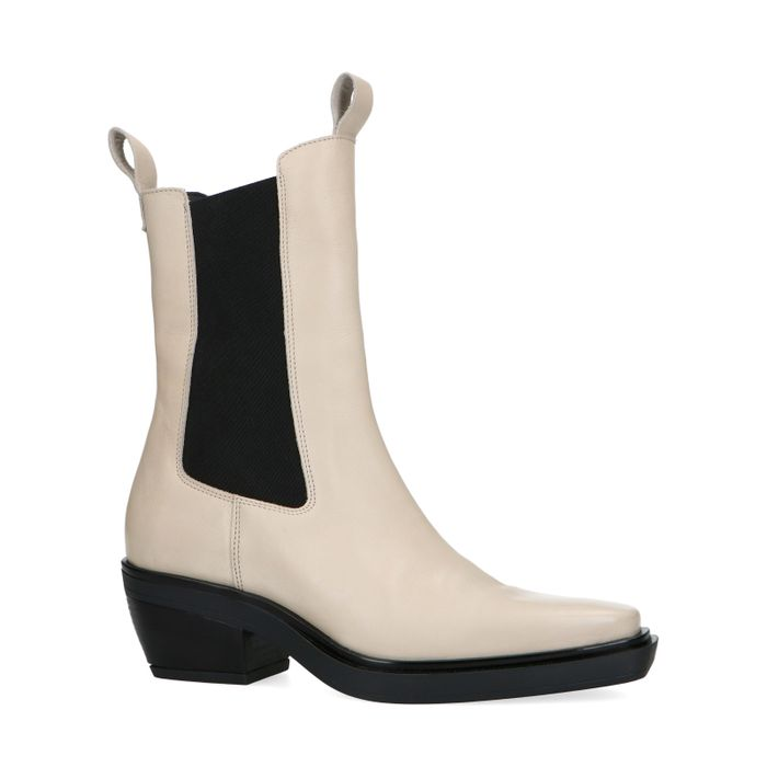 Chelsea boots en cuir avec bout pointu - beige