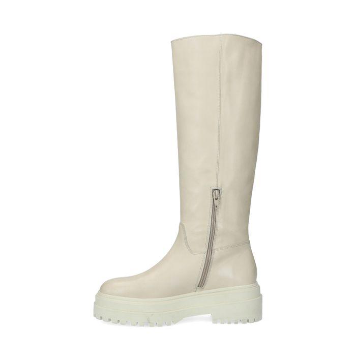 Chelsea boots montantes en cuir - beige