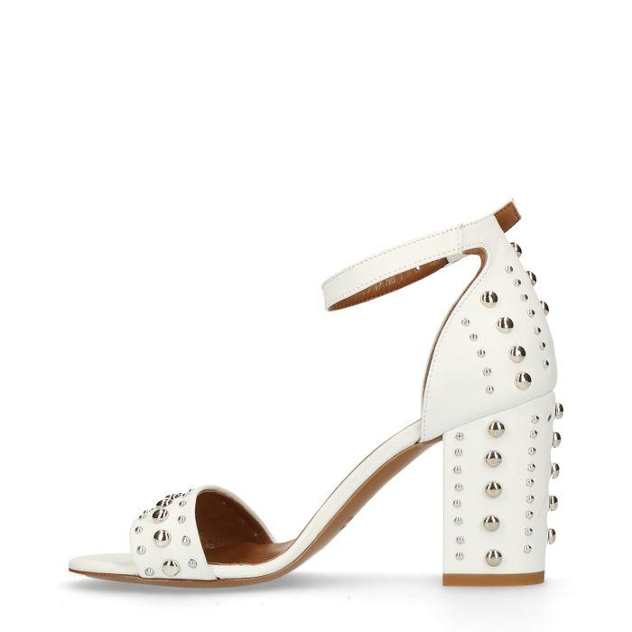 Sandales cuir à talon avec clous - blanc