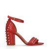 Sandales à talon avec clous - rouge