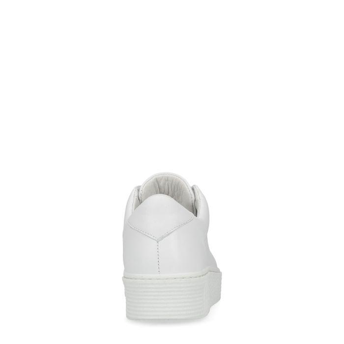 Baskets en cuir basses avec fermeture éclair - blanc
