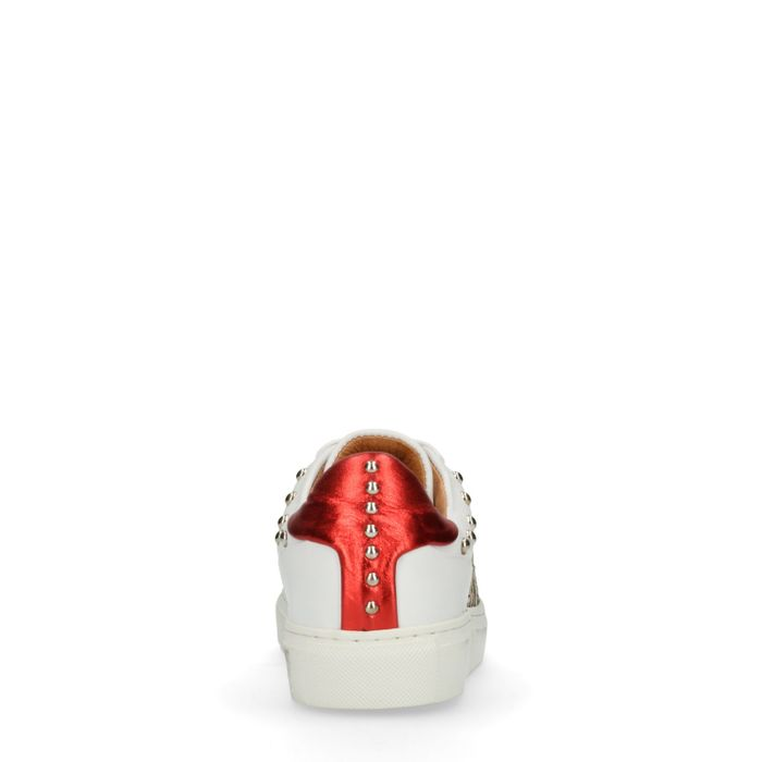 Baskets en cuir basses avec détails - blanc