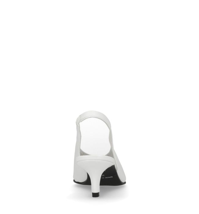 Escarpins slingback en cuir avec petit talon - blanc