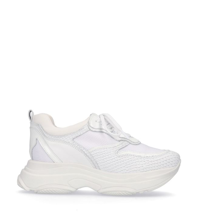 Dad shoes en cuir avec imprimé serpent - blanc