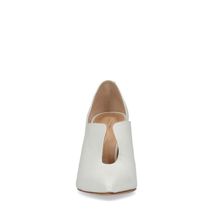 Escarpins cuir avec talon miroir - blanc