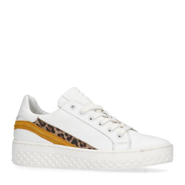 Baskets à plateforme cuir avec imprimé léopard - blanc