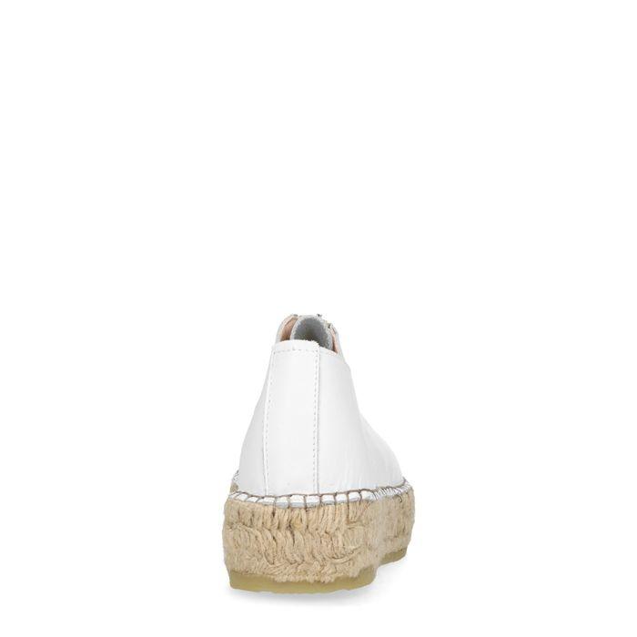 Espadrilles cuir à plateforme avec fermeture éclair - blanc