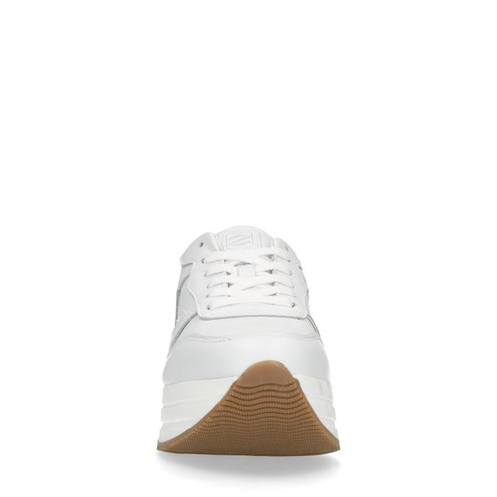 Baskets cuir à plateforme - blanc
