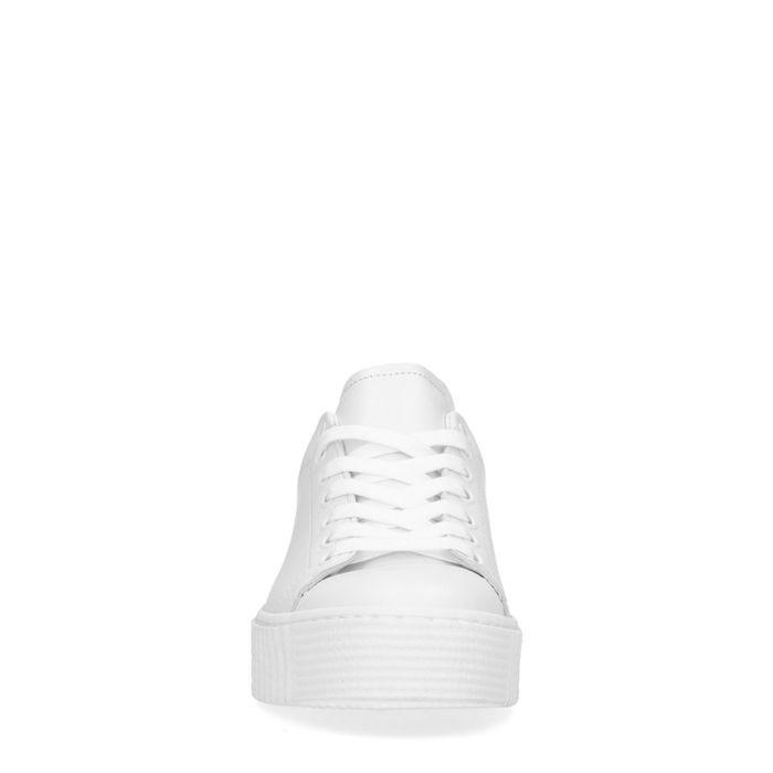 Baskets à plateforme cuir avec détail imprimé léopard - blanc