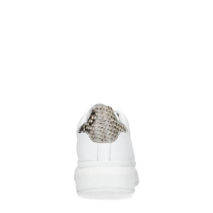 Baskets cuir à plateforme avec détail imprimé serpent - blanc