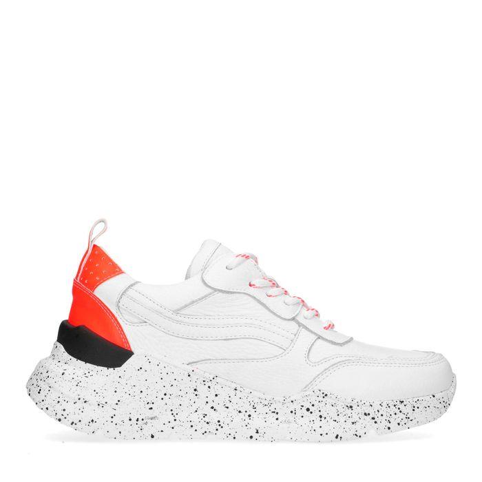 Dad shoes en cuir avec détails fluo - blanc