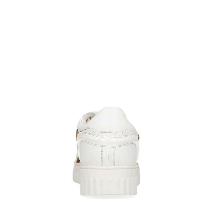 Baskets en cuir avec imprimé animal - blanc