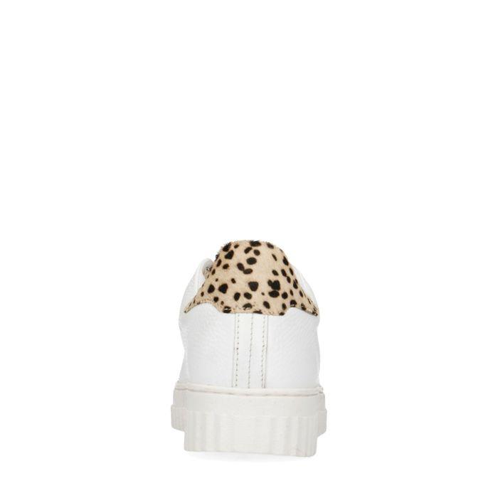 Baskets en cuir avec imprimé léopard - blanc