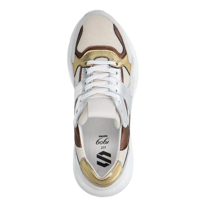 Dad shoes en cuir et textile avec détails métallisés