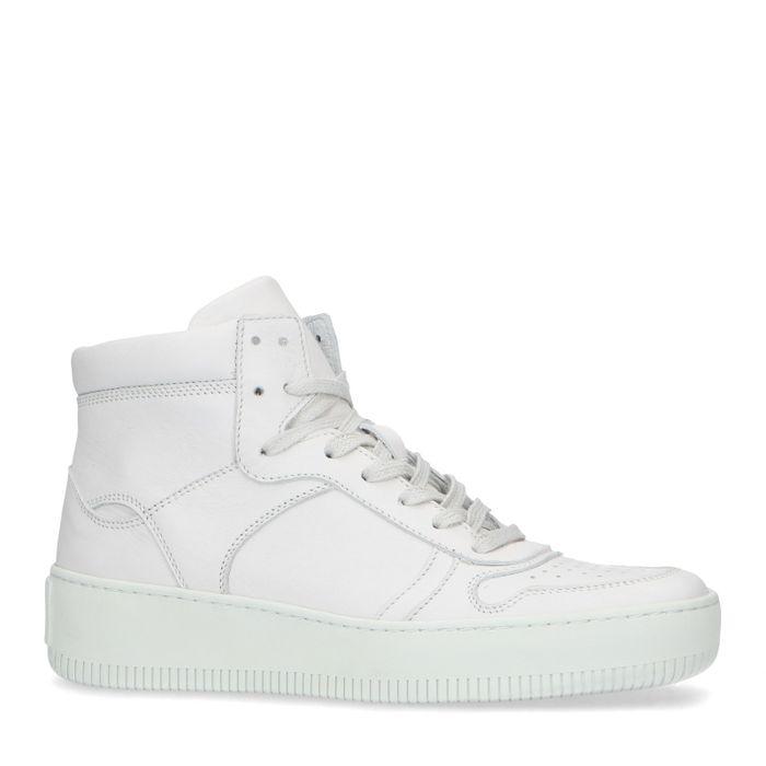 Baskets mi-hautes en cuir - blanc