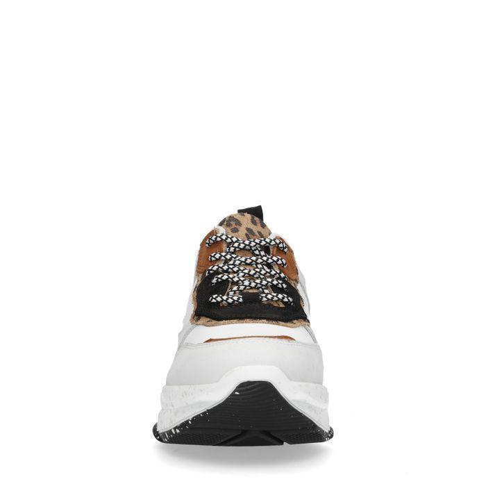 Dad shoes en cuir avec imprimé léopard - blanc
