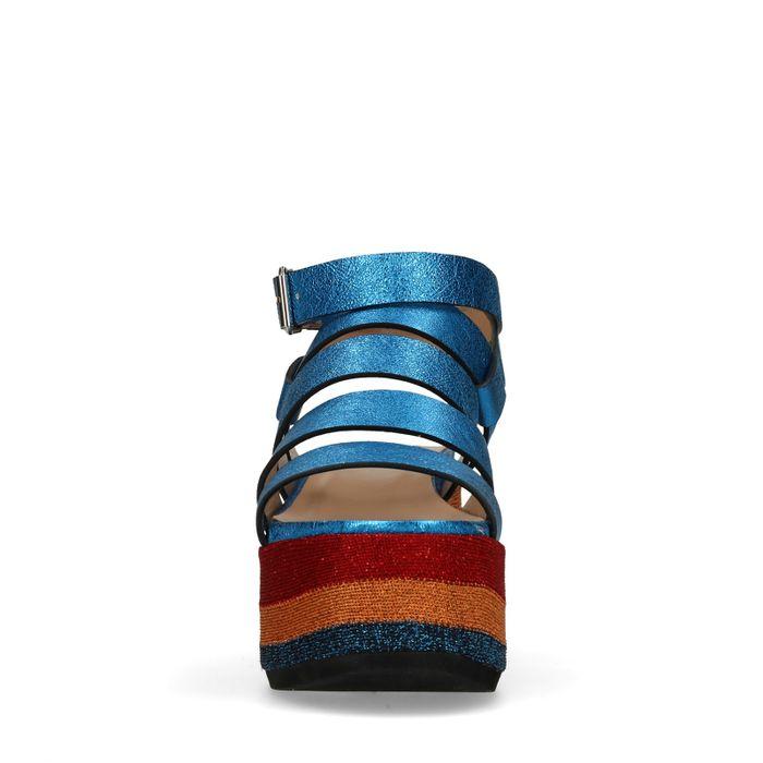 Sandales cuir à plateforme métallisées - bleu