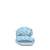 Mules en cuir avec bandes tressées - bleu
