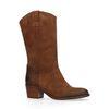 Bottes style western en cuir - marron